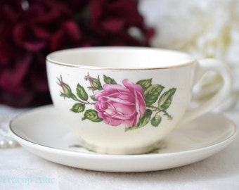 Dominion China Rose Bower 22k Gold Border Earthenware Teacup and Saucer, English Stoneware Tea Cup Set, Garden Tea Party, ca unknown