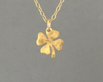 Tiny Hammered Gold Four Leaf Clover Necklace also in Silver and Rose Gold