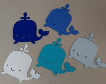 Whale Die Cut Shapes, Whale Cutouts, 5 Shades of Blue, Under The Sea Fish