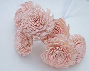 Sola Flower Chorki Stemmed OR Unstemmed Sola Flowers Blush Pink Light Pink DIY Bride Bouquet Supply Set of 6