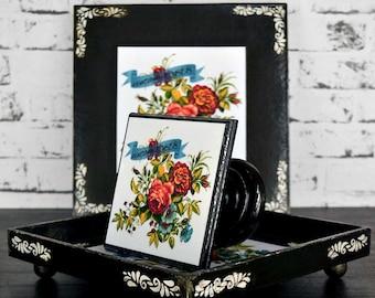 Decorative tray - cake stand - box - set - black - vintage roses - decoupage - handmade