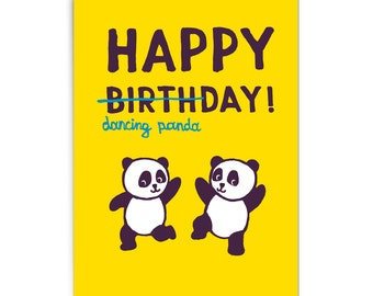 "Birthday card ""Dancing panda"""