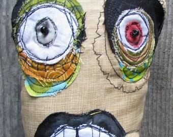 Toxic, the Blue and Black Mohawk Punk handmade ooak art doll