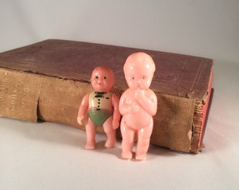 Vintage Celluloid Dolls Minature Renwal No 8 and Banner Vintage Dolls Little Hard Plastic Dollhouse Dolls 1940s - 1950s