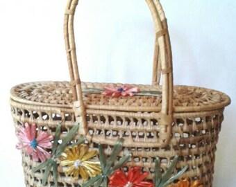 50's Woven BASKET PURSE // Rafia Flowers