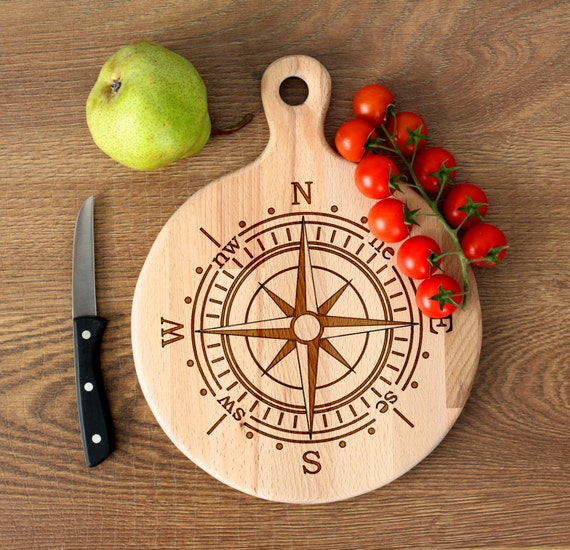Travel cutting board - Rose of Wind Wooden Cutting Board - Personalized Engraved Cutting Board