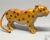 Toy Jaguar wood colourful orange yellow with dots standing  Size 13,0x 7,5 x 2,5 cm (bxhxs) approx. 70,5 gr.