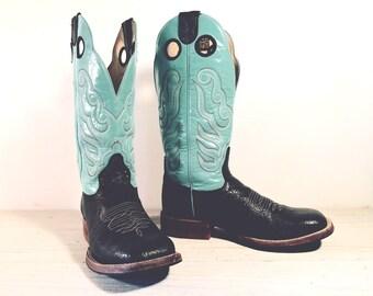Vintage Cowboy Boots, Hondo Aqua Blue & Black Bullhide Leather, Buckaroo Style, Square Toes, Men's size 8 D / women 9.5
