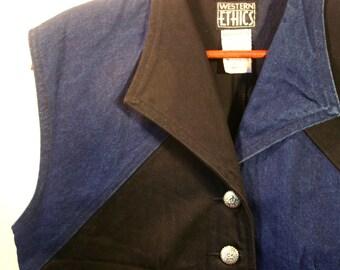 80's Vintage Cowgirl Western Vest, Black & Blue Denim with Silver Tone Buttons, Women's size L