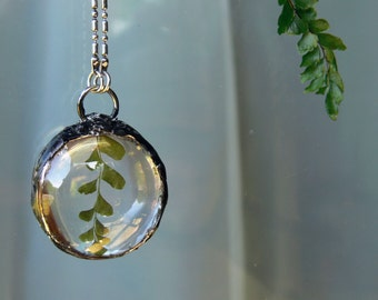 pressed fern necklace // domed round glass + fern. extra long necklace.