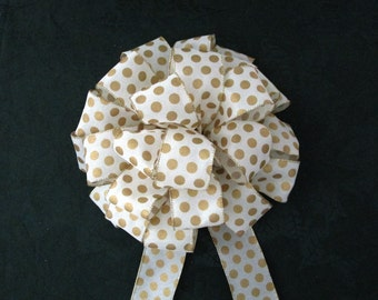 Christmas Bow or Fully Round Tree Topper Bow, Gold & Cream Polka Dot Bow, Cream Bow / Tree Topper Bow, Wreath Bow