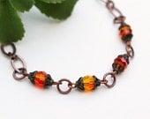 Orange Bead Bracelet, Beaded Bracelet, Swarovski Crystal Bracelet, Beaded Jewelry, Wedding Jewelry, Wedding Bracelet, Orange Bracelet