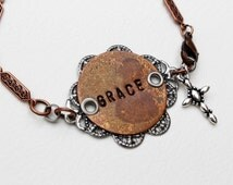 Silver Grace Stamped Bracelet Copper Beaded Jewelry Boho Rustic Cross Inspirational