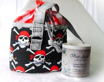 Reusable Lunch bucket, Lunch Bag, Food Bag, Pirate Food Carrier, Medium Lunch Tote, Round Food Tote, Round Tote, Round Bag Again