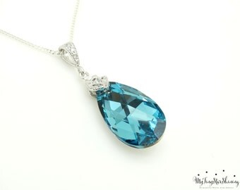 Turquoise Wedding Jewelry Turquoise Bridal Necklace Bride Necklace Swarovski Crystal Teal Wedding Pendant Bridesmaid Gift