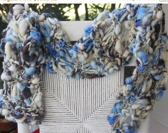 ENTIRE SHOP SALE Sale Hand Knit Blue Scarf in Super Bulky Ivory Handspun Hand dyed yarns, in Ivory Yarn with shades of blue and gray