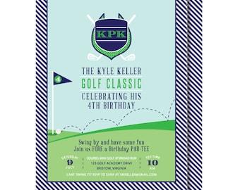 Golf Birthday Invitation, Golf Invitations, Preppy Golf Invite, Printable or Printed