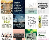 Quotes #4-1, Planner Stickers, Motivation, Inspiration, Life, Love, Home, Full Box, Horizontal, ECLP, Plum Paper Planner