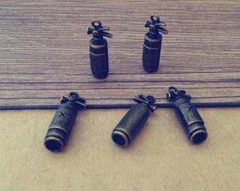10pcs Antique bronze extinguisher charm pendant  8mmx23mm