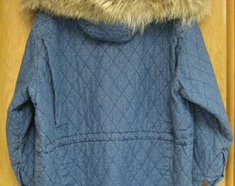 vintage womens quilted denim 'Calvin Klein Sport'  jacket with fur trimmed hood . .worn once . . size medium . .like new . .1980's . .unique
