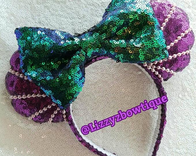 Mermaid Seashell Pearl Sequin Minnie ears