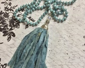 Soft blue sari silk tassel on hand knotted necklace glass rondelle beads bohemian style necklace 36""