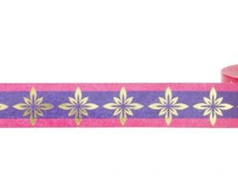 Pink and Purple with Gold Foil Bursts Washi Tape, 15mm x 10m, with Cutter by Little B