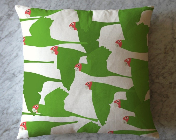 Pillow with Flock of Green Parrots. August 6, 2016