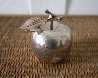 Vintage silver apple bowl, sugar bowl