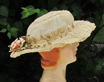 Antique lace hat trimmed with pink rose, c.1920 lace net hat with wire foundation, woman's wide brimmed summer hat