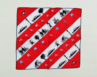 Vintage hanky with cars and bicycles, printed cotton handkerchief with transportation theme, red, white, and black hanky with automobiles