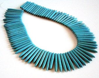 "Turquoise Howlite Spike Stick Beads, 40 to 45mm in length 13"" strand"