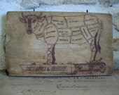 French wood cutting board for meat with French cuts of beef illustration on back