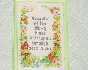 1979 Vintage Hallmark Grandmother and Love Quote Plaque