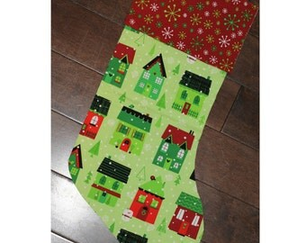 Christmas Stocking - Personalized Stocking - Fully Lined Cotton Stocking - Green Winter Houses