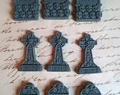 9 Tombstone Graveyard Stone Gravestone Headstone Miniature Mini Tiny resin RIP Mix 31x19mm Grey Gothic Fairy Garden Halloween