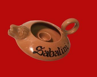 Ceramic Candleholder Restaurant Souvenir Sabatini Ristorante Roma