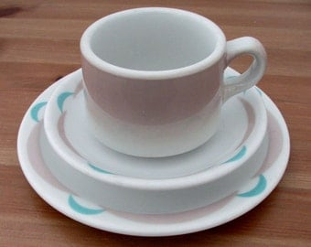 Crescent Pattern Lunch Plate and Cup & Saucer Restaurant Ware by Shenango China