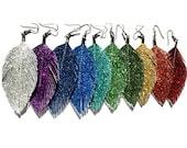 Feather Earrings, Glitter Earrings, Faux Leather Earrings, Sparkly Earrings - Surgical Steel - free US ship