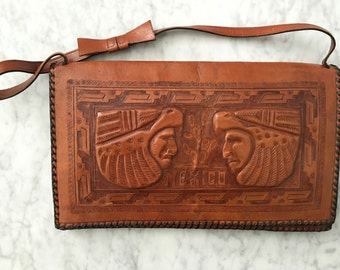 1970s Hand Tooled Leather Purse