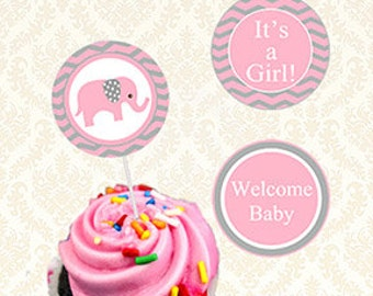 Elephant Baby Shower Cupcake Toppers Printable, Its A Girl Baby Elephant Sticker Label, Gift Tags Girls Shower Instant Download