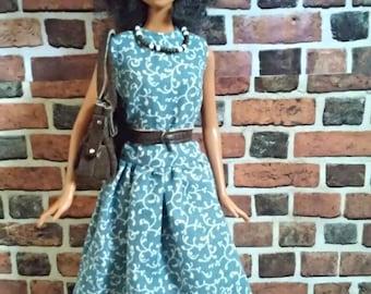 Drop Waist Midi Dress w/ Belt for Barbie or similar fashion doll