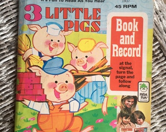 Three Little Pigs Book with 45 RPM Record