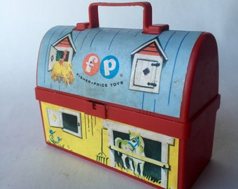 Small 1962 Fisher Price Barn Snack Box