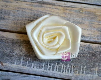 "Set of 4 flowers - IVORY - The Laura Collection - 2.5"" Satin Rolled Ribbon Flowers - DIY Flower Headbands - Large Rosettes - Cream"