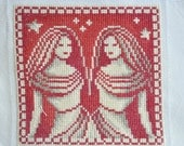 Finished / Completed Cross Stitch - Lanarte - Red Signs of the Zodiac: Gemini (34974) crossstitch counted cross stitch