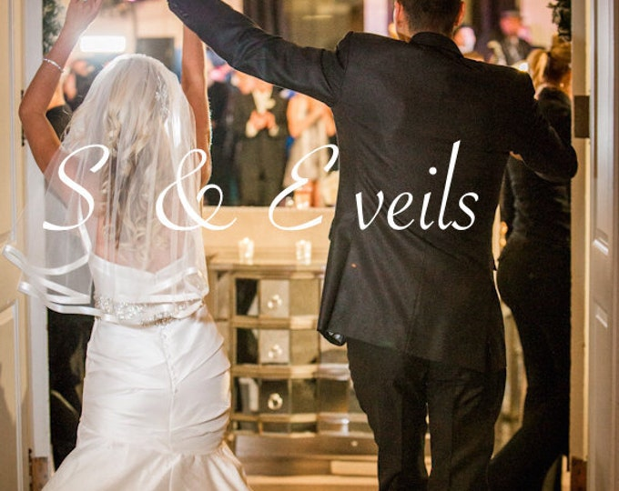 2-Tier CASCADING CATHEDRAL Veil w/ Satin Ribbon & 2nd Blusher, bridal veil, cathedral wedding veil, ivory, diamond white color, long veil