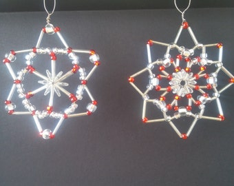 Set of 2 Hand Crafted, Silver and Red ornaments or window decor/sun catchers
