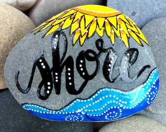 Shore / painted rocks / painted stones /beach art / beach house art / collectibles / rock art / words on stone / cape cod art / paperweights
