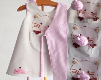 cat dress and mouse teether, corduroy cat dress 6/12, 12/18 months, made in spain, corduroy baby cat dress, corduroy cat dress, cat lovers